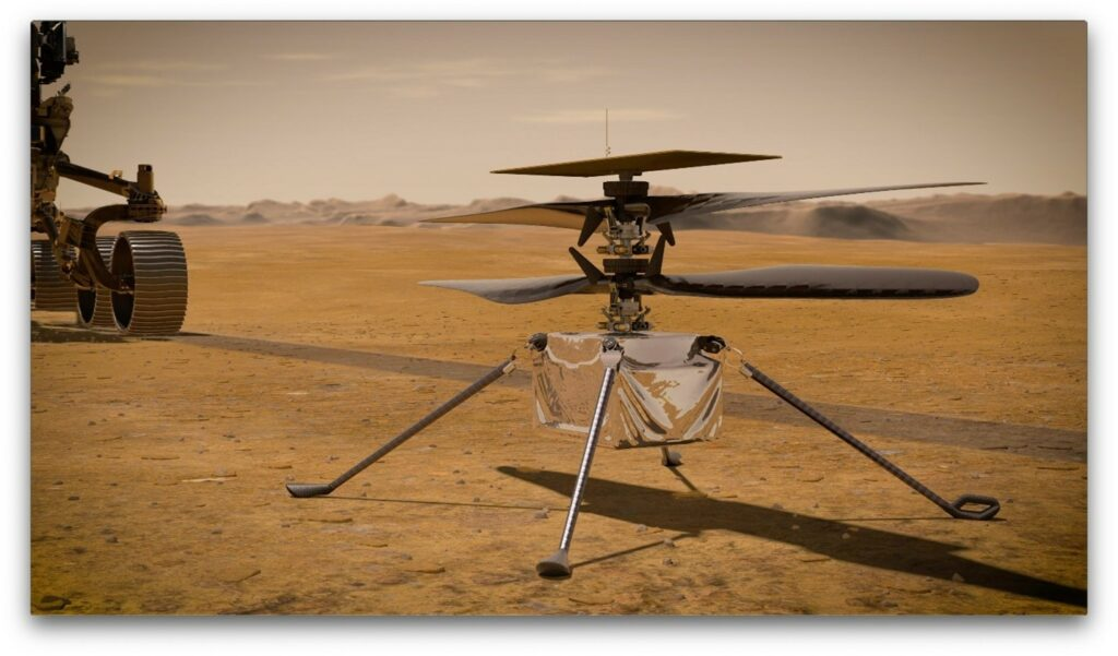 A 3D rendering of Ingenuity, landed near the Perseverance rover.